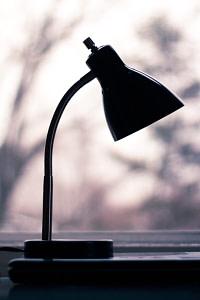 black study lamp turned off