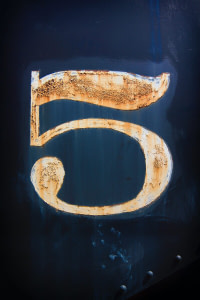 number 5 wood artwork