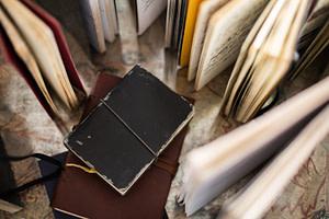 black ipad on brown book