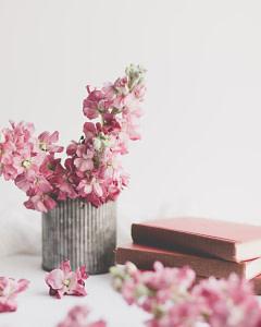 pink flowers on brown wooden vase