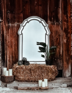 gray framed leaning mirror with hay and potted green leaf plant
